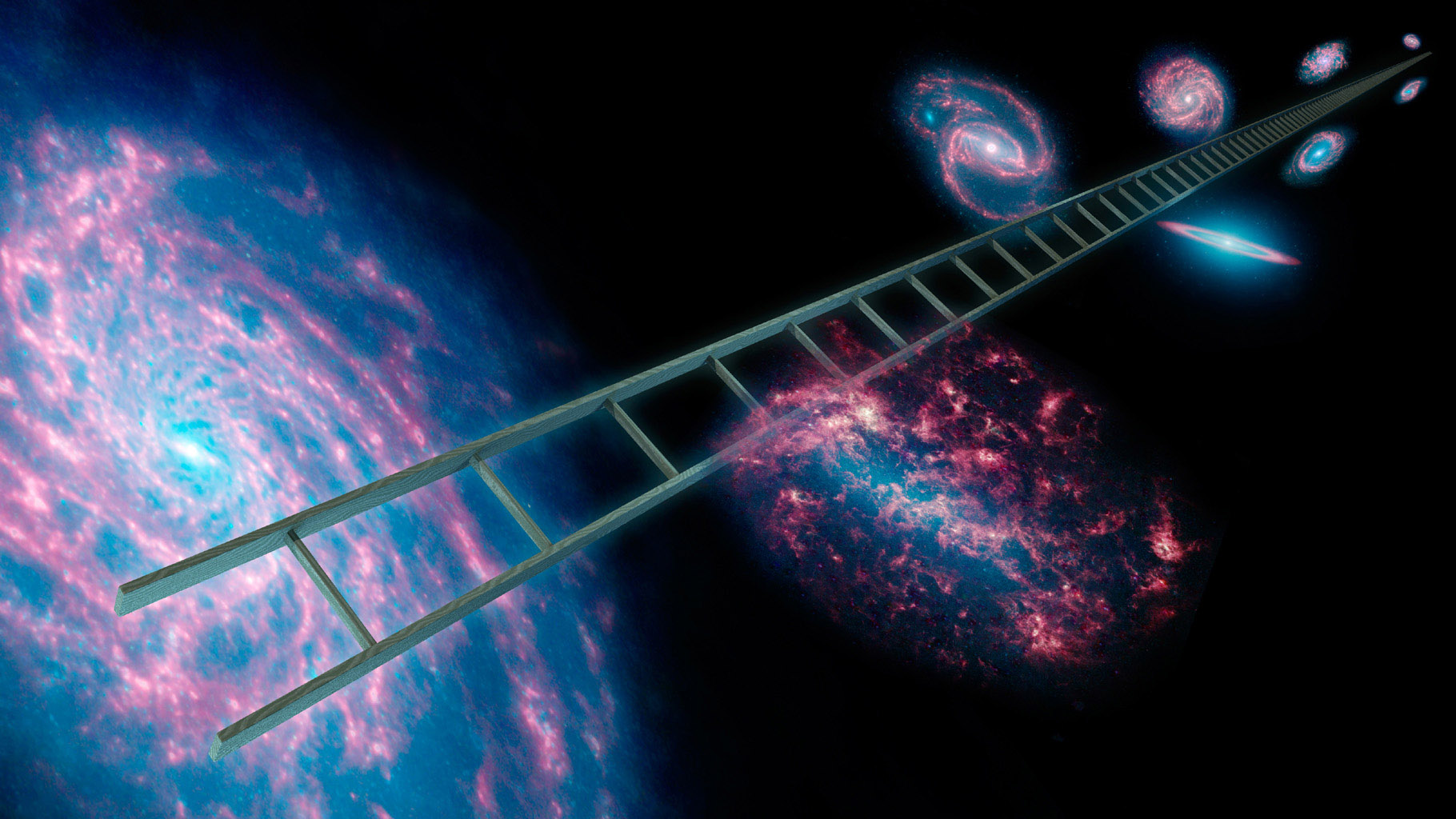 Astronomers using NASA's Spitzer Space Telescope have greatly improved the cosmic distance ladder used to measure the expansion rate of the universe, its size and age. This artist's concept symbolically shows a series of stars that have known distances.
