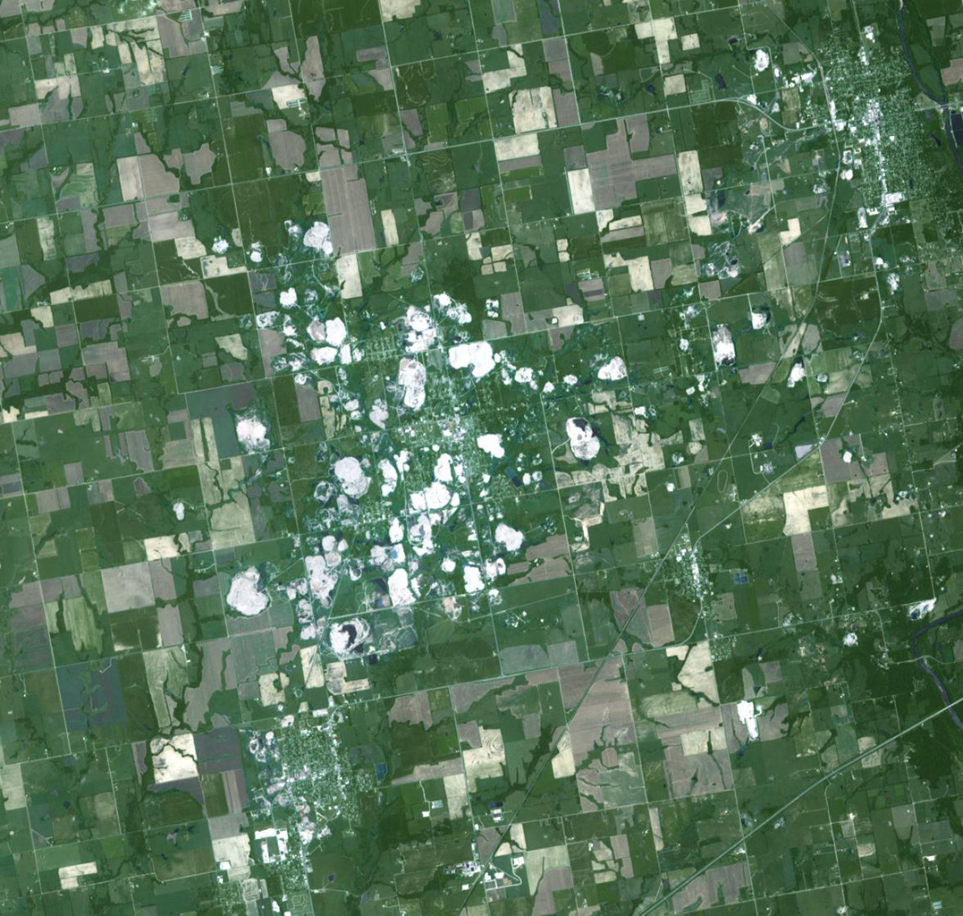 NASA's Terra spacecraft acquired this image of Picher, Oklahoma which once boasted 20,000 people in this mining town in northeast Oklahoma. Now, after a 2009 tornado, and a federal cleanup program, the town is a modern-day ghost town.