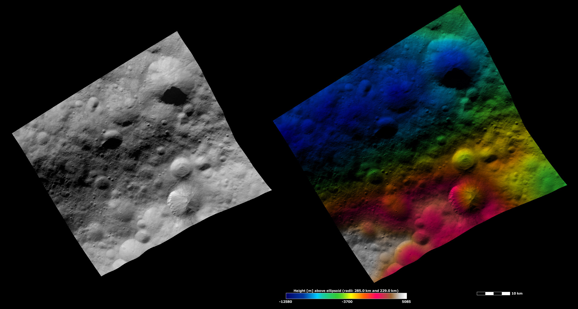 These images from NASA's Dawn spacecraft are located in asteroid Vesta's Numisia quadrangle, in Vesta's northern hemisphere.