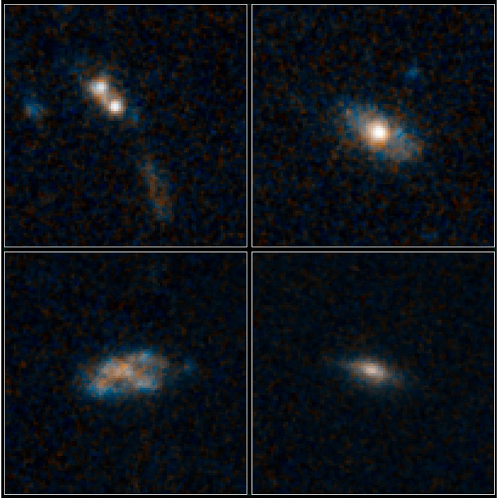 The galaxies pictured here have so much dust surrounding them that the brilliant light from their quasars cannot be seen in these images from NASA's Hubble Space Telescope.