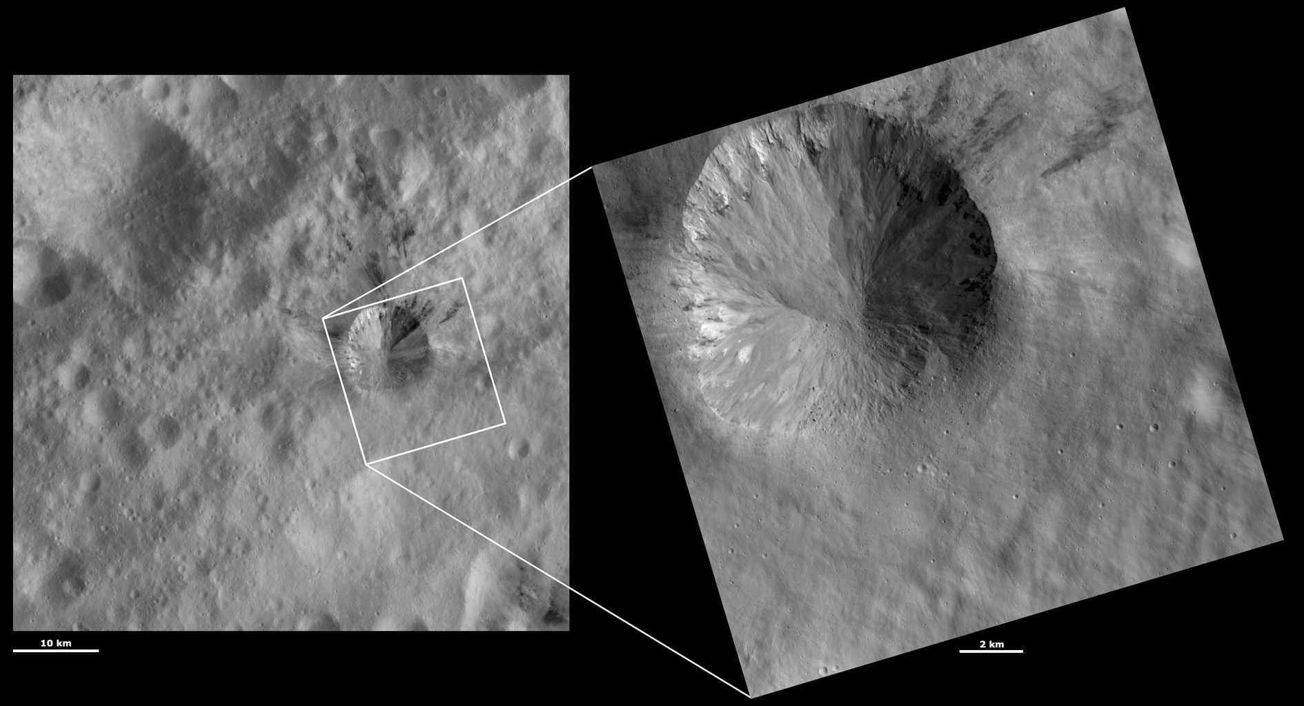 These images from NASA's Dawn spacecraft are located in asteroid Vesta's Gegania quadrangle, a little south of Vesta's equator; boulders can be seen on the bottom side of the crater.