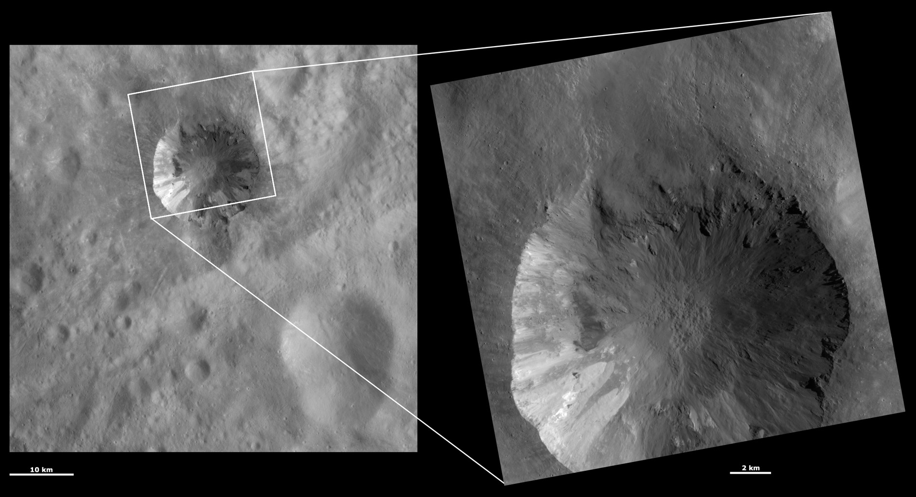 These images from NASA's Dawn spacecraft are located in asteroid Vesta's Numisia quadrangle, southern hemisphere; layers can be seen slumping towards the crater's center and there is slightly brighter material overlying slightly less bright material.