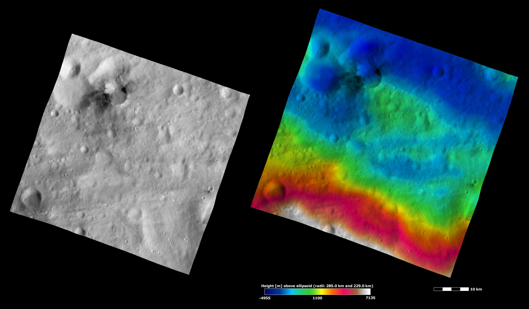 These apparent brightness and topography images from NASA's Dawn spacecraft are located in asteroid Vesta's Gegania quadrangle, in Vesta's southern hemisphere.