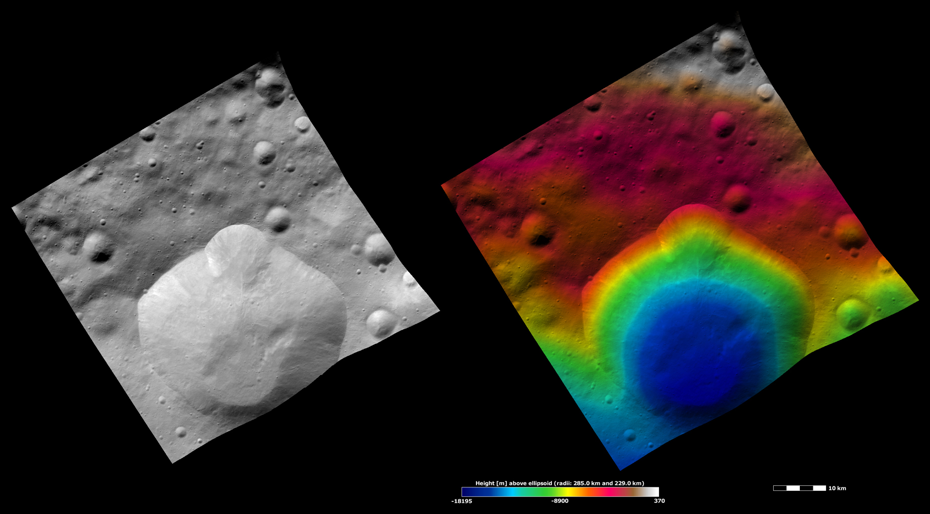 These apparent brightness and topography images from NASA's Dawn spacecraft are located in asteroid Vesta's Floronia quadrangle, in Vesta's northern hemisphere.