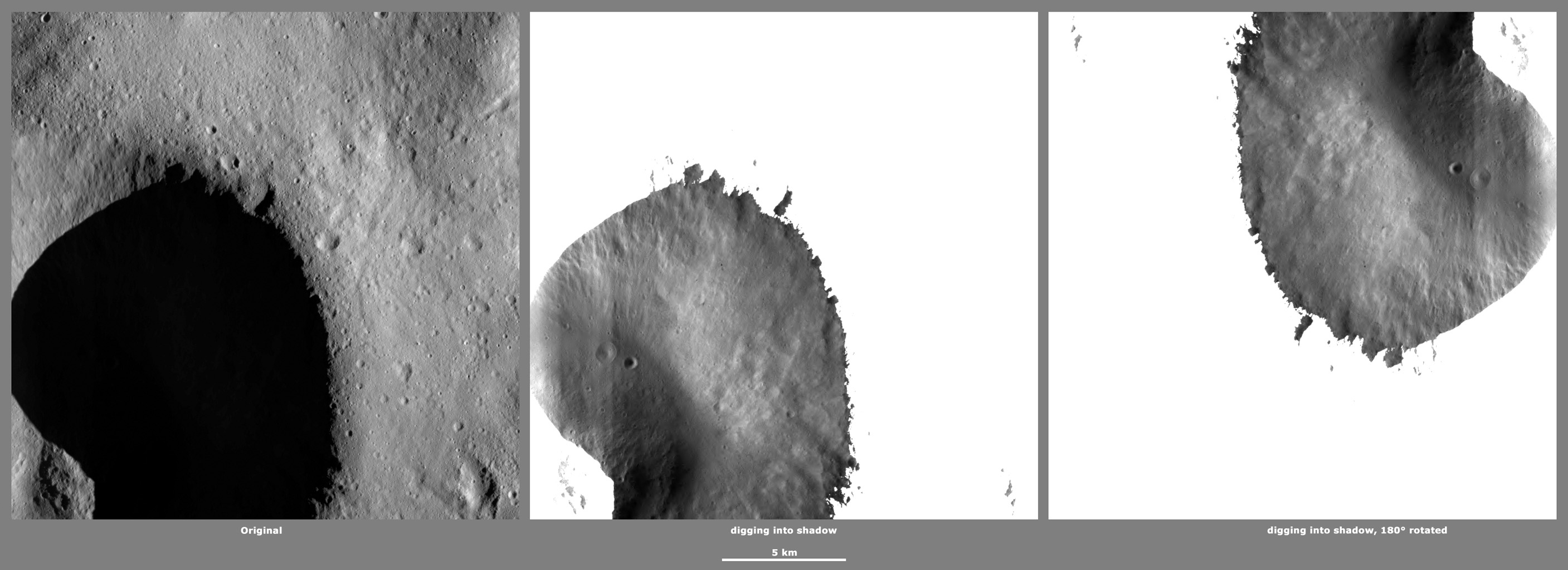 These images from NASA's Dawn spacecraft, located in Vesta's Caparronia quadrangle, in Vesta's northern hemisphere, demonstrate a special analytical technique, which results in shadowed areas of Vesta's surface becoming illuminated.