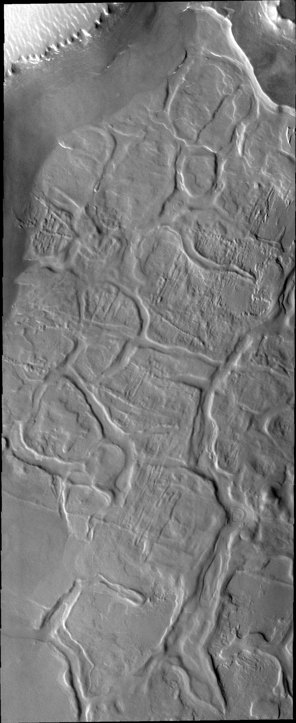 The dissected appearing surface in this image captured by NASA's Mars Odyssey spacecraft is called Hyperboreus Labyrinthus, located just south of Mars' north polar cap. The linear depressions are most likely caused by tectonic stress.