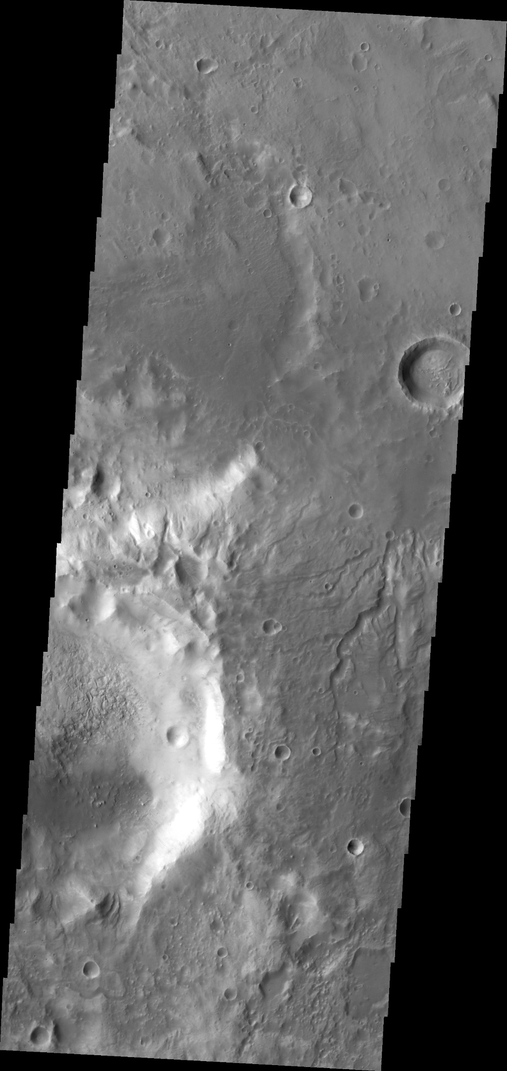 The small channels in this image captured by NASA's Mars Odyssey spacecraft dissect the southern rim of Sklodowska Crater on Mars.