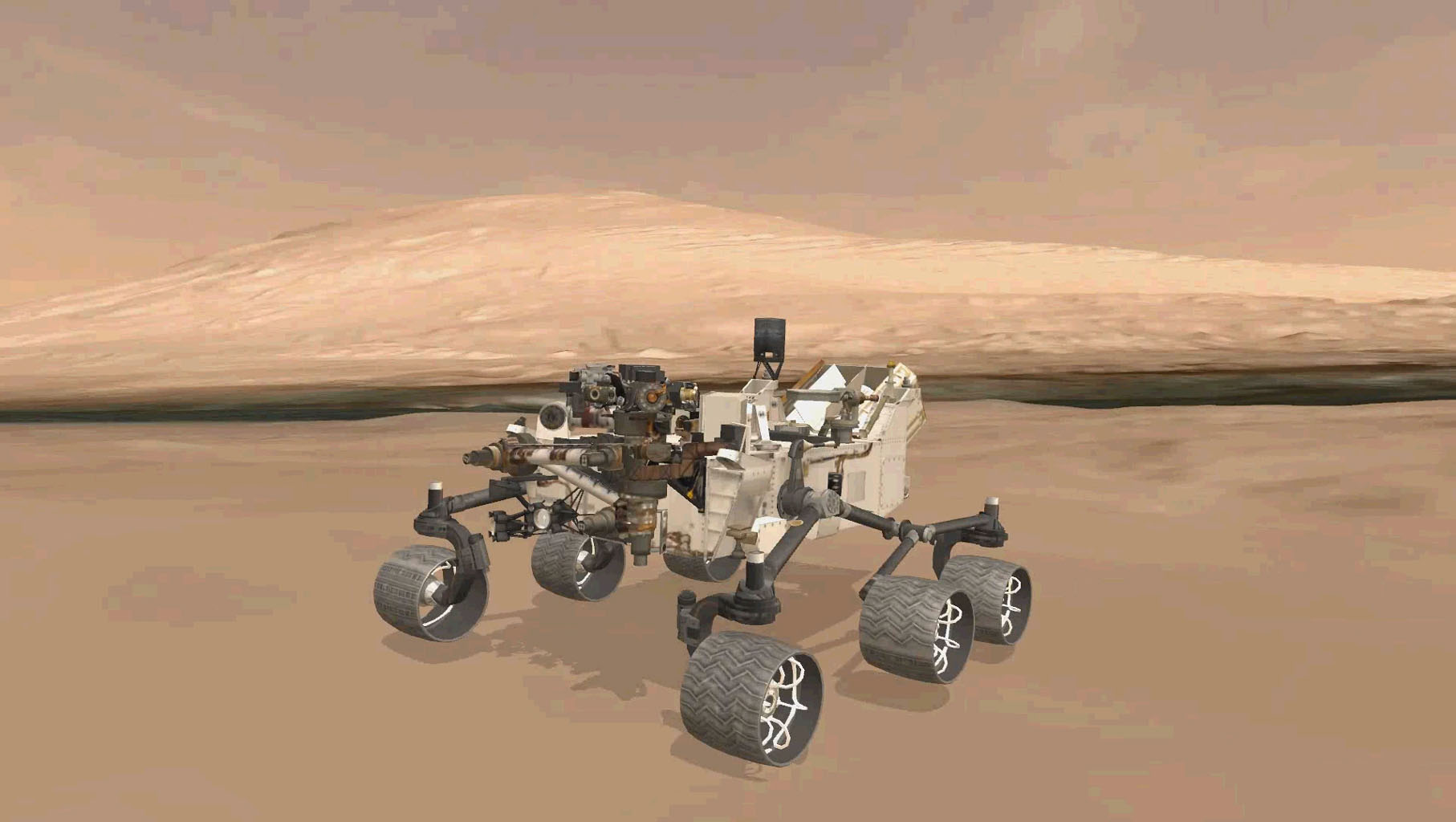 This image shows the approximate true position of NASA's Curiosity rover on Mars. A 3-D virtual model of Curiosity is shown inside Gale Crater, near Mount Sharp, Curiosity's ultimate destination.