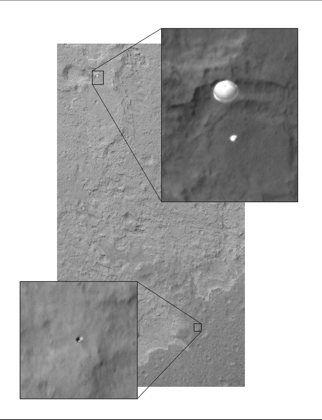 Late last night, in the morning hours of Aug. 6, as NASA's Curiosity rover fell to the surface of Mars, NASA's Mars Reconnaissance Orbiter (MRO) captured an image of the rover gliding on its parachute.