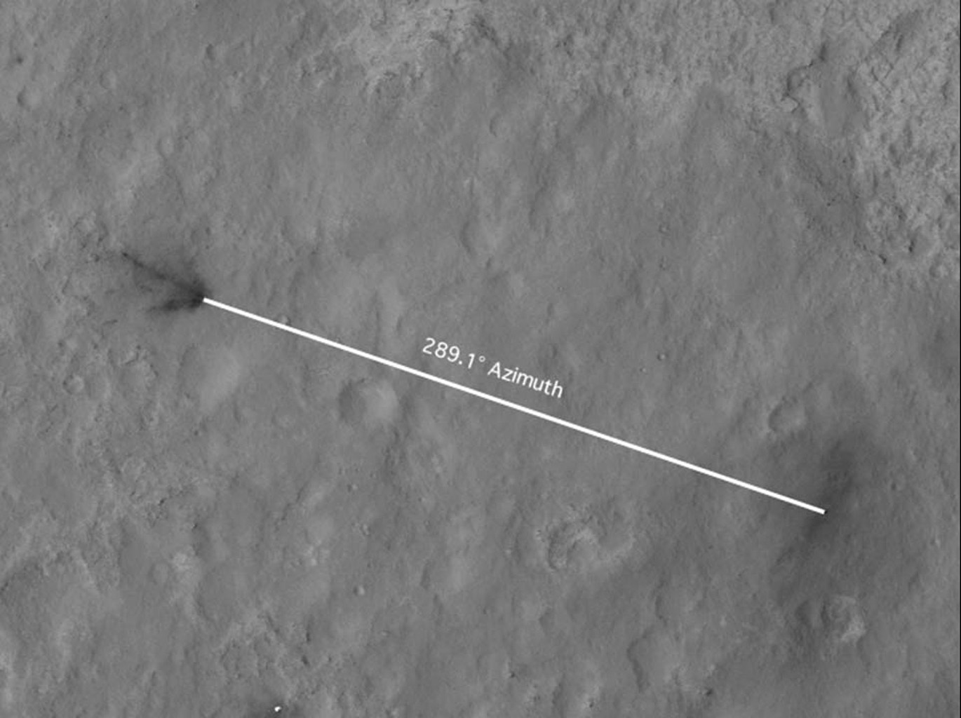 This portion of an image from NASA's Mars Reconnaissance Orbiter has been annotated to show the relative positions between NASA's Curiosity rover (right) and the impact site of its sky crane, or descent stage.