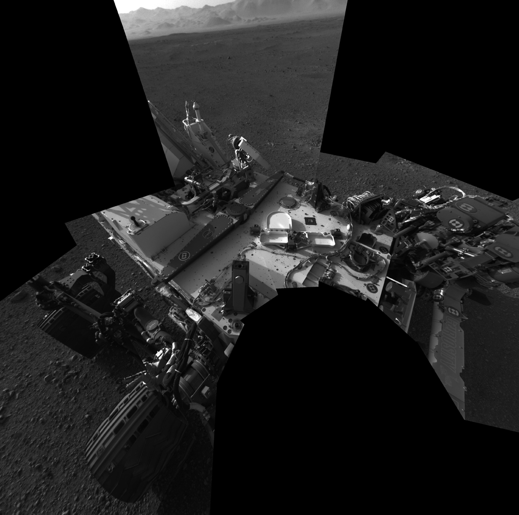 This full-resolution self-portrait shows the deck of NASA's Curiosity rover from the rover's Navigation cameras. This full-resolution self-portrait shows the deck of NASA's Curiosity rover from the rover's Navigation cameras.
