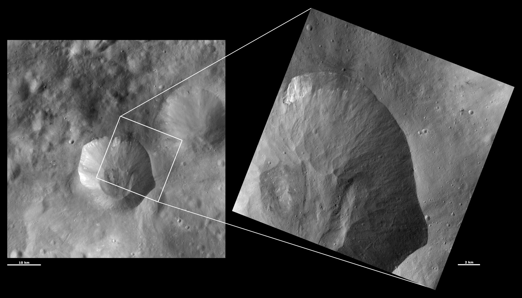 These images from NASA's Dawn spacecraft are located in asteroid Vesta's Numisia quadrangle, in Vesta's southern hemisphere. fine-scale structure of the slumping-related features on Drusilla's sloping sides.