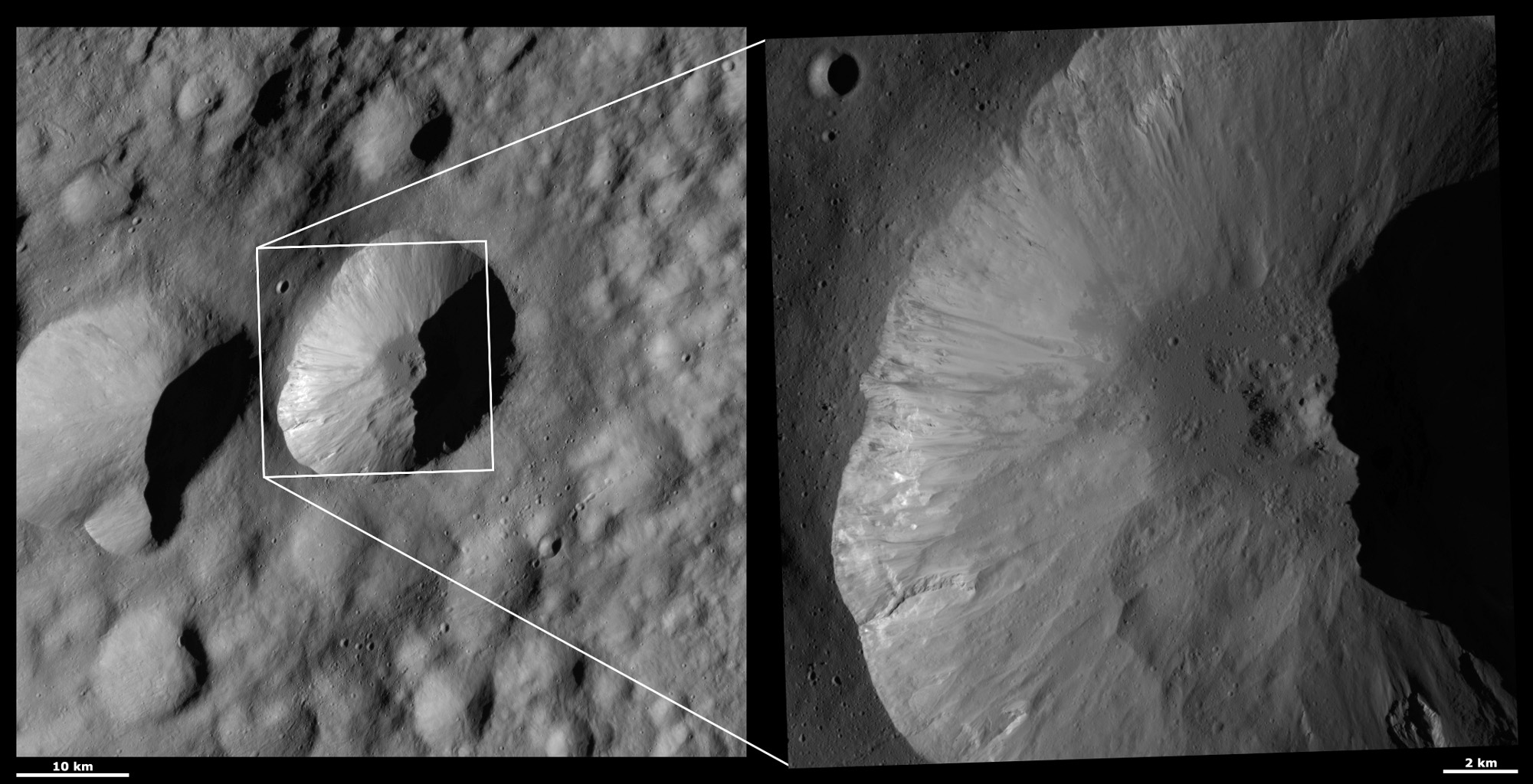 These images from NASA's Dawn spacecraft are located in asteroid Vesta's Floronia quadrangle, in Vesta's northern hemisphere. There are fine-scale streaks of dark and bright material originating from just underneath Licinia's scalloped rim.