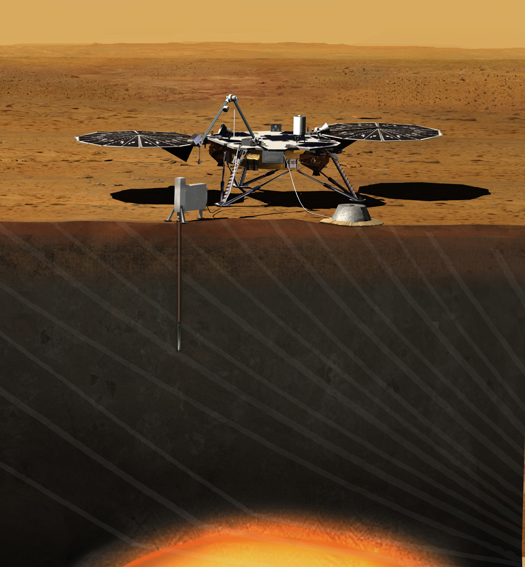 Artist rendition of the InSight (Interior exploration using Seismic Investigations, Geodesy and Heat Transport) Lander.