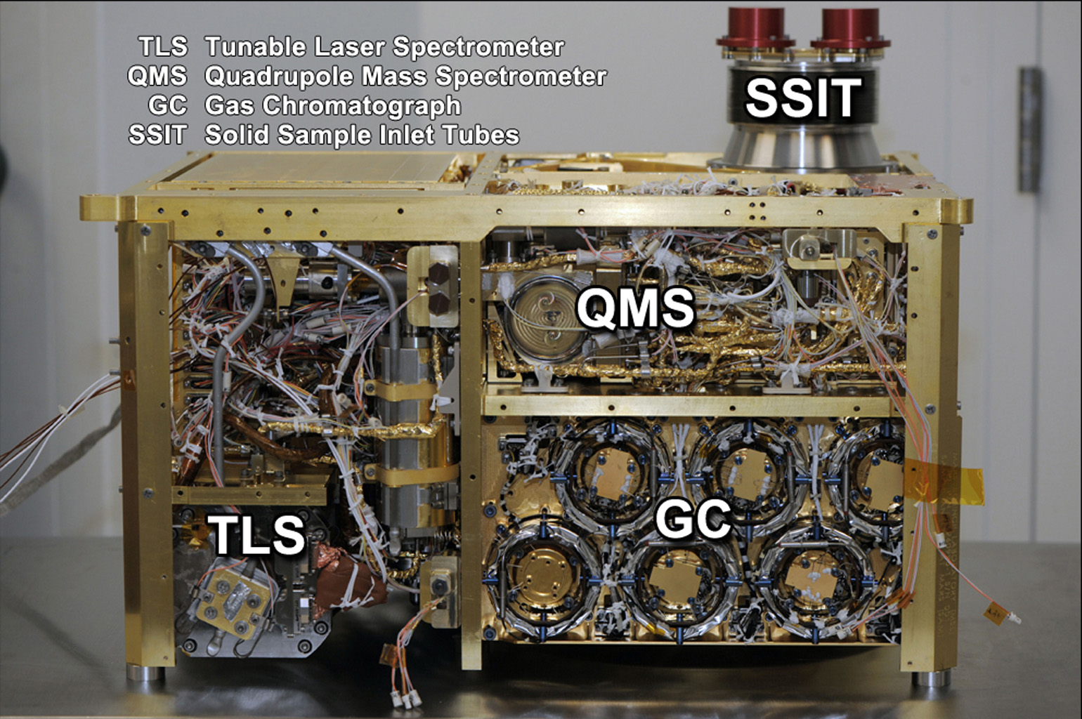 An instrument suite that will analyze the chemical ingredients in samples of Martian atmosphere, rocks and soil during the mission of NASA's Mars rover Curiosity, is shown here during assembly at NASA Goddard Space Flight Center, Greenbelt, Md., in 2010.