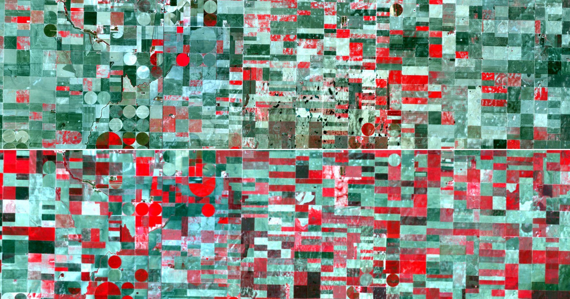 Two satellite images acquired by NASA's Terra spacecraft, obtained about 10 years apart, clearly illustrate the effects of the near-historic drought conditions in southwestern Kansas. Farmers are among the hardest hit.
