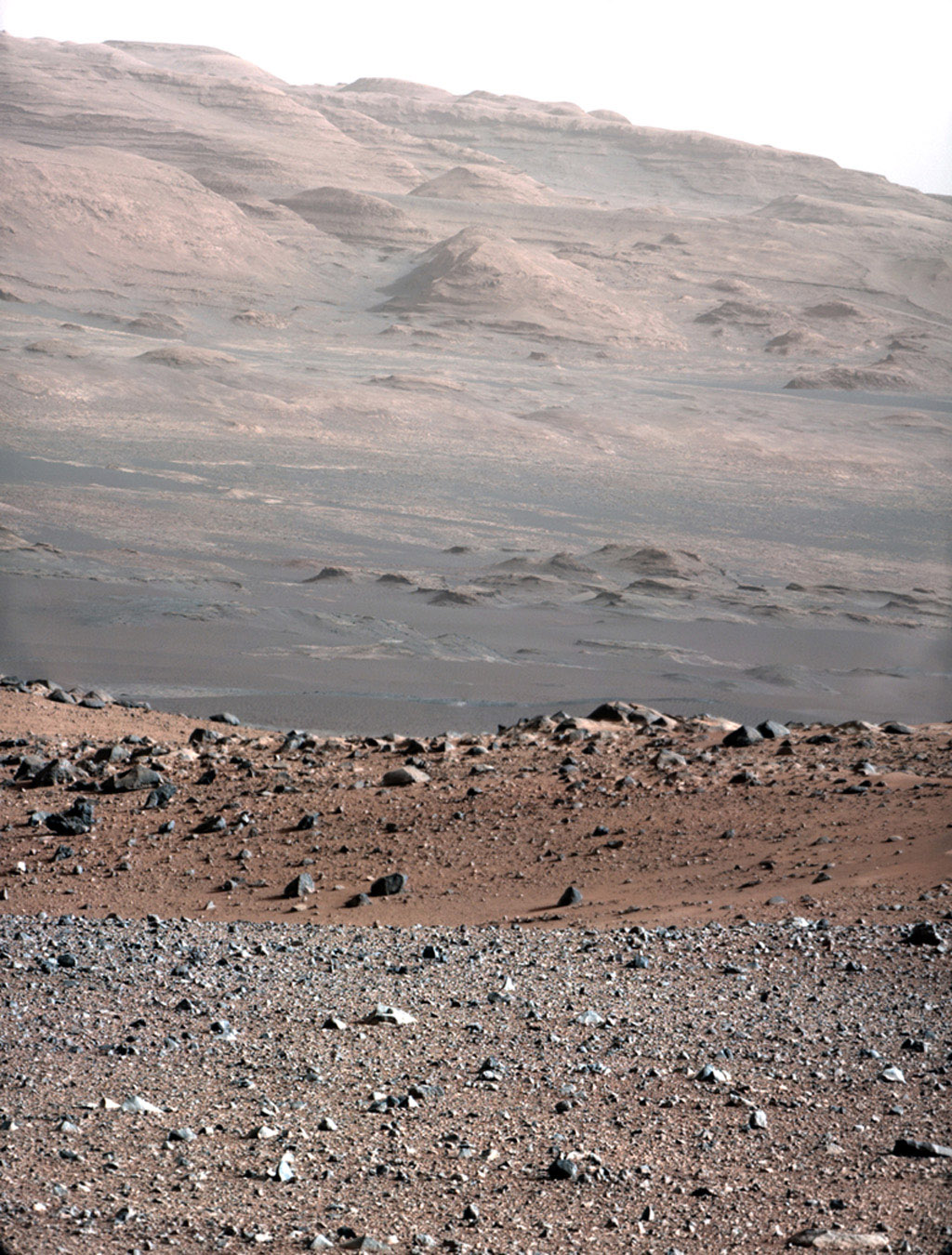 This image is from a test series used to chacterize the 100-millimeter Mast Camera on NASA's Curiosity rover. It was taken on Aug. 23, 2012, and looks south-southwest from the rover's landing site.