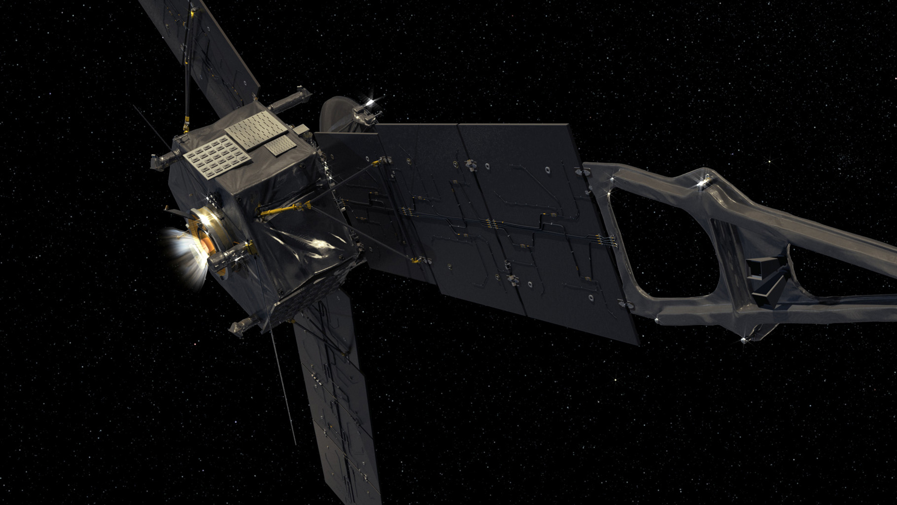 This computer-generated image depicts NASA's Juno spacecraft firing its Leros-1b main engine.