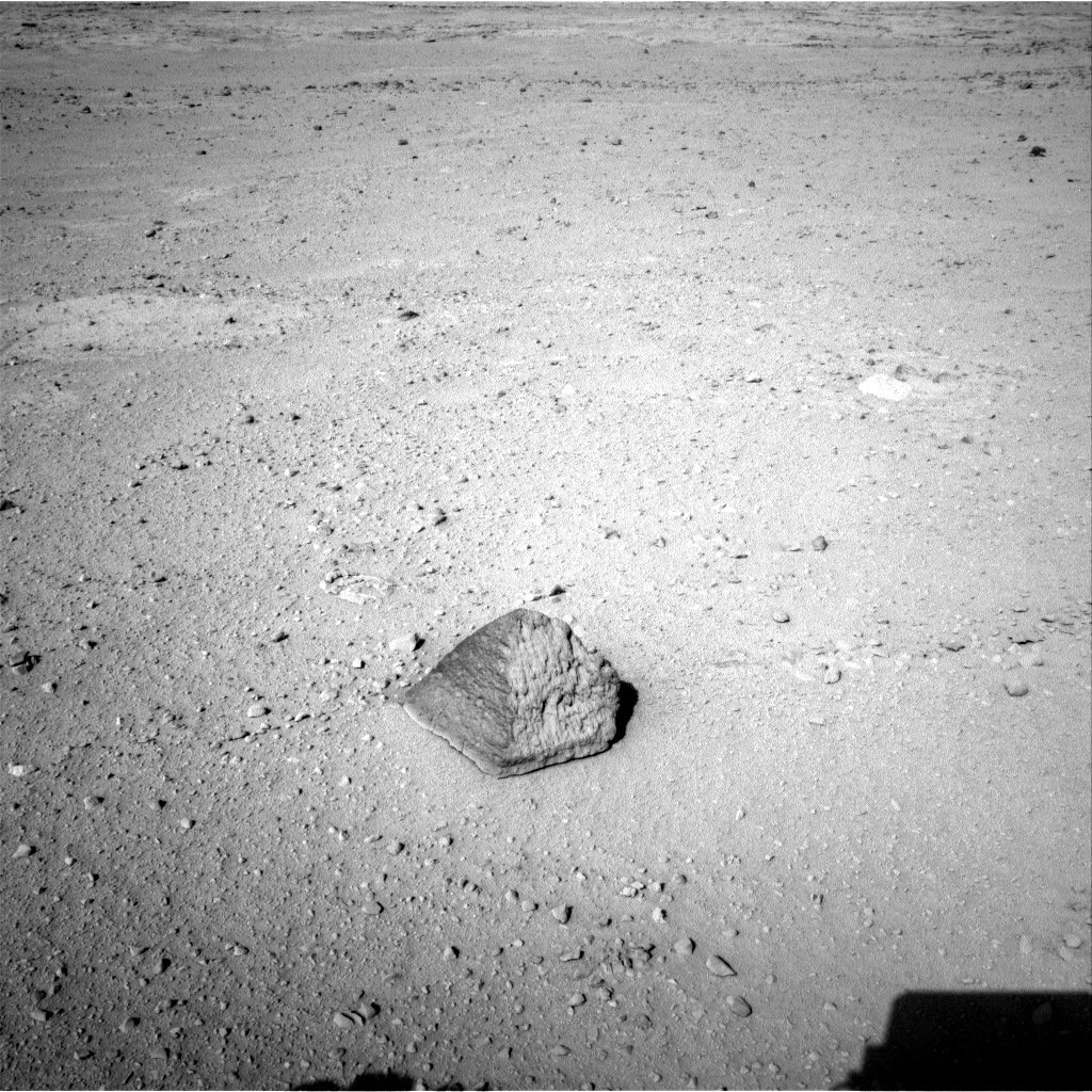 The drive by NASA's Mars rover Curiosity during the mission's 43rd Martian day ended with this rock front of the rover. The rover team has assessed it as a suitable target for the first use of Curiosity's contact instruments on a rock.