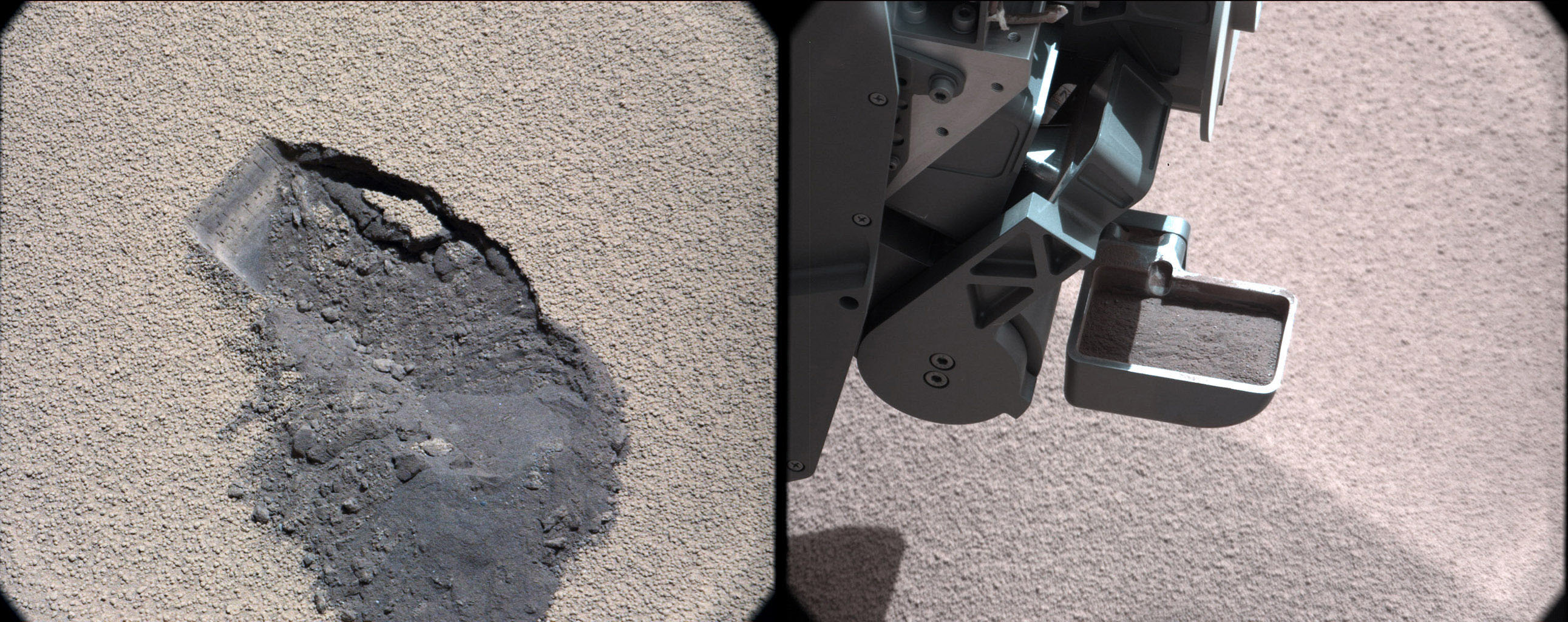 This pair of images shows a 'bite mark' where NASA's Curiosity rover scooped up some Martian soil (left), and the scoop carrying soil.