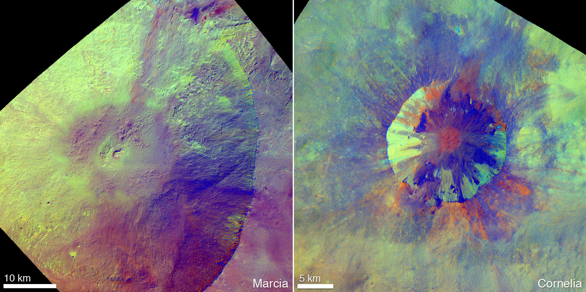 These enhanced-color views from NASA's Dawn mission show an unusual 'pitted terrain' on the floors of the craters named Marcia (left) and Cornelia (right) on the giant asteroid Vesta.