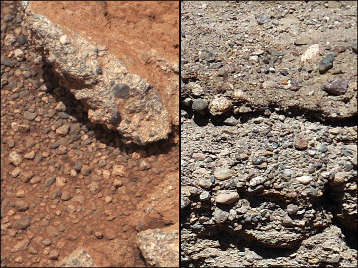 This set of images compares the 'Link' outcrop of rocks on Mars (left) with similar rocks seen on Earth (right). The 'Link' outcrop shows rounded gravel fragments, or clasts, up to a couple inches (few centimeters), within the rock outcrop.