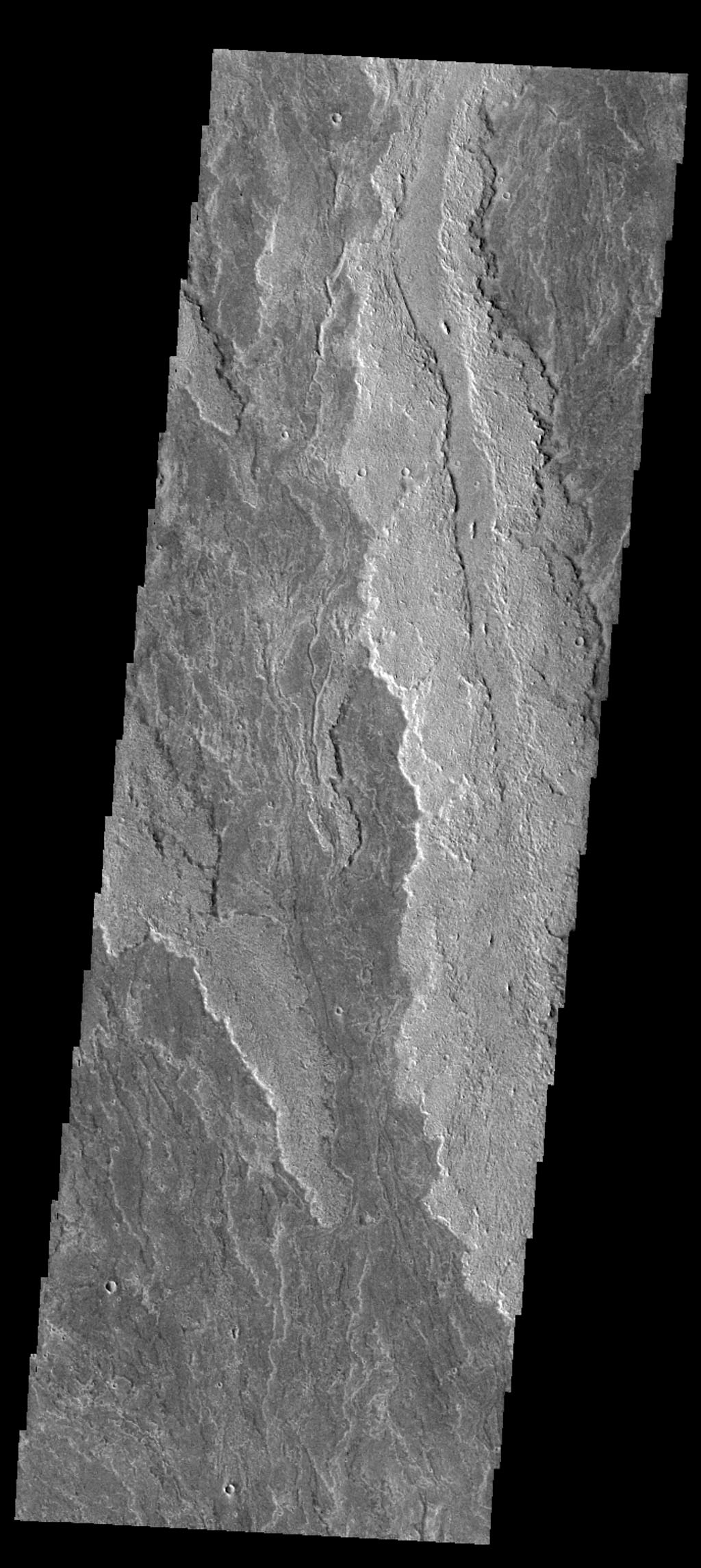 The volcanic flows in this image captured by NASA's Mars Odyssey spacecraft are part of Daedalia Planum, an extensive flow field originating from Arsia Mons.