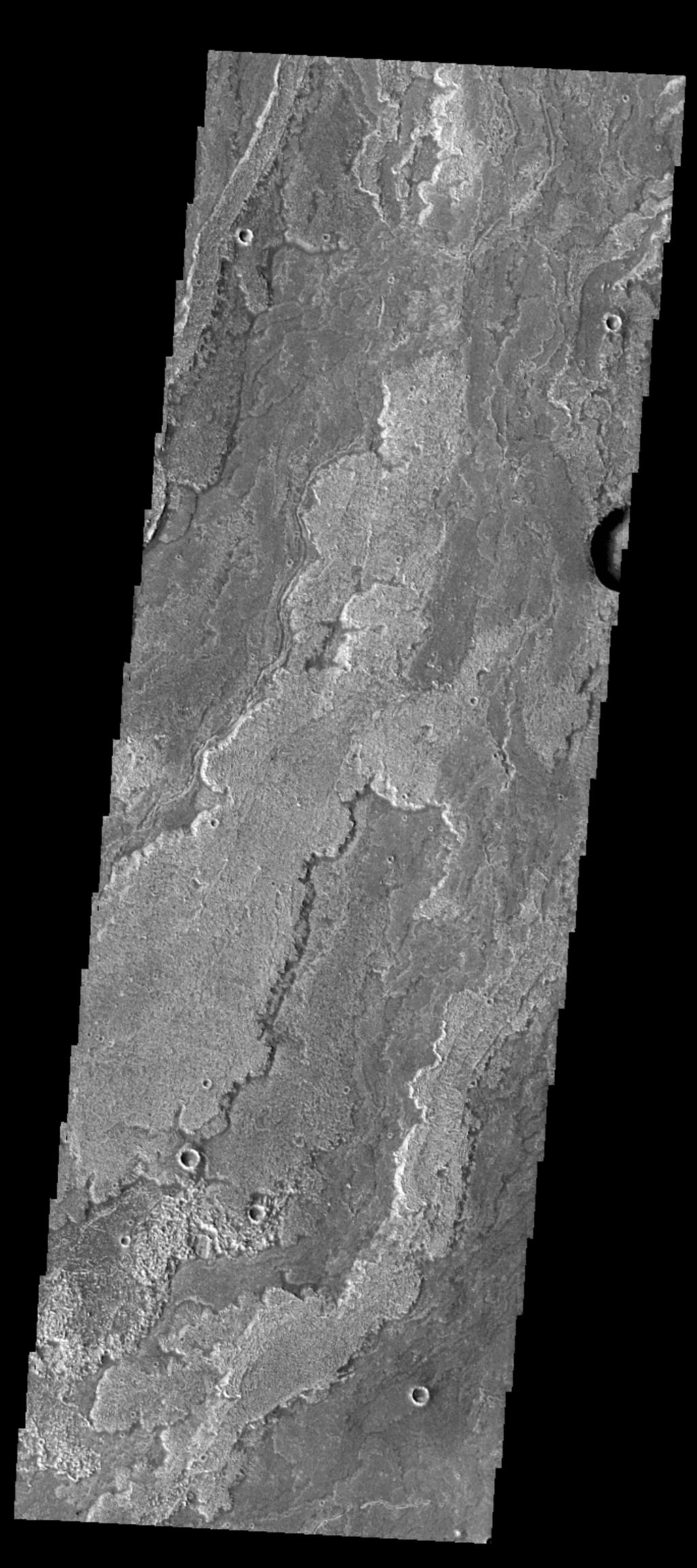 The volcanic flows in this image from NASA's Mars Odyssey spacecraft are part of Daedalia Planum. The flows originated at Arsia Mons.