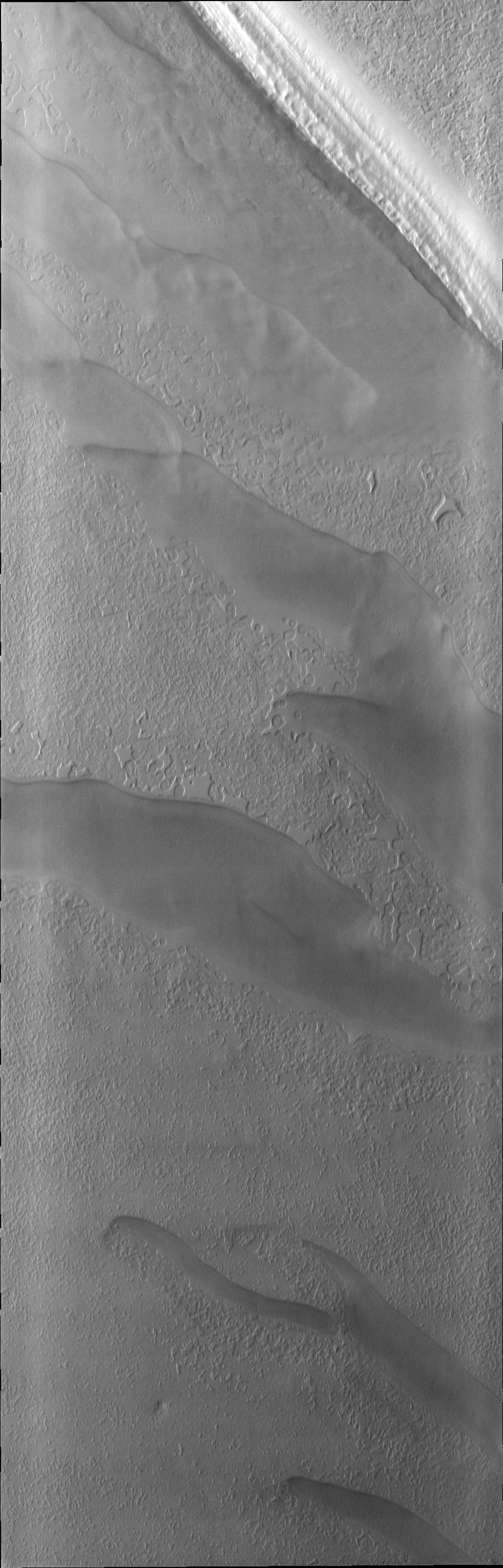 As spring progresses at the south pole, the surface reacts to the change of season. This image from NASA's 2001 Mars Odyssey spacecraft shows a region of the south pole that is monitored throughout spring, summer, and fall at the south pole.