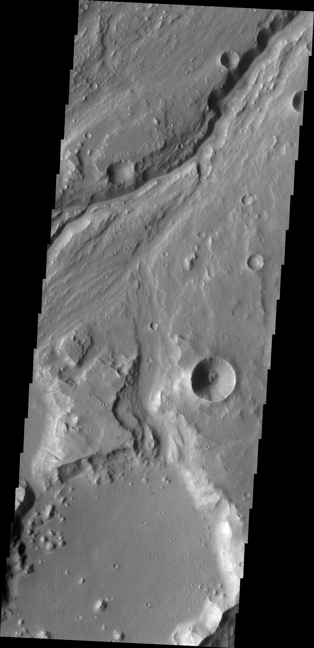 This image captured by NASA's 2001 Mars Odyssey spacecraft shows a portion of Maja Valles.