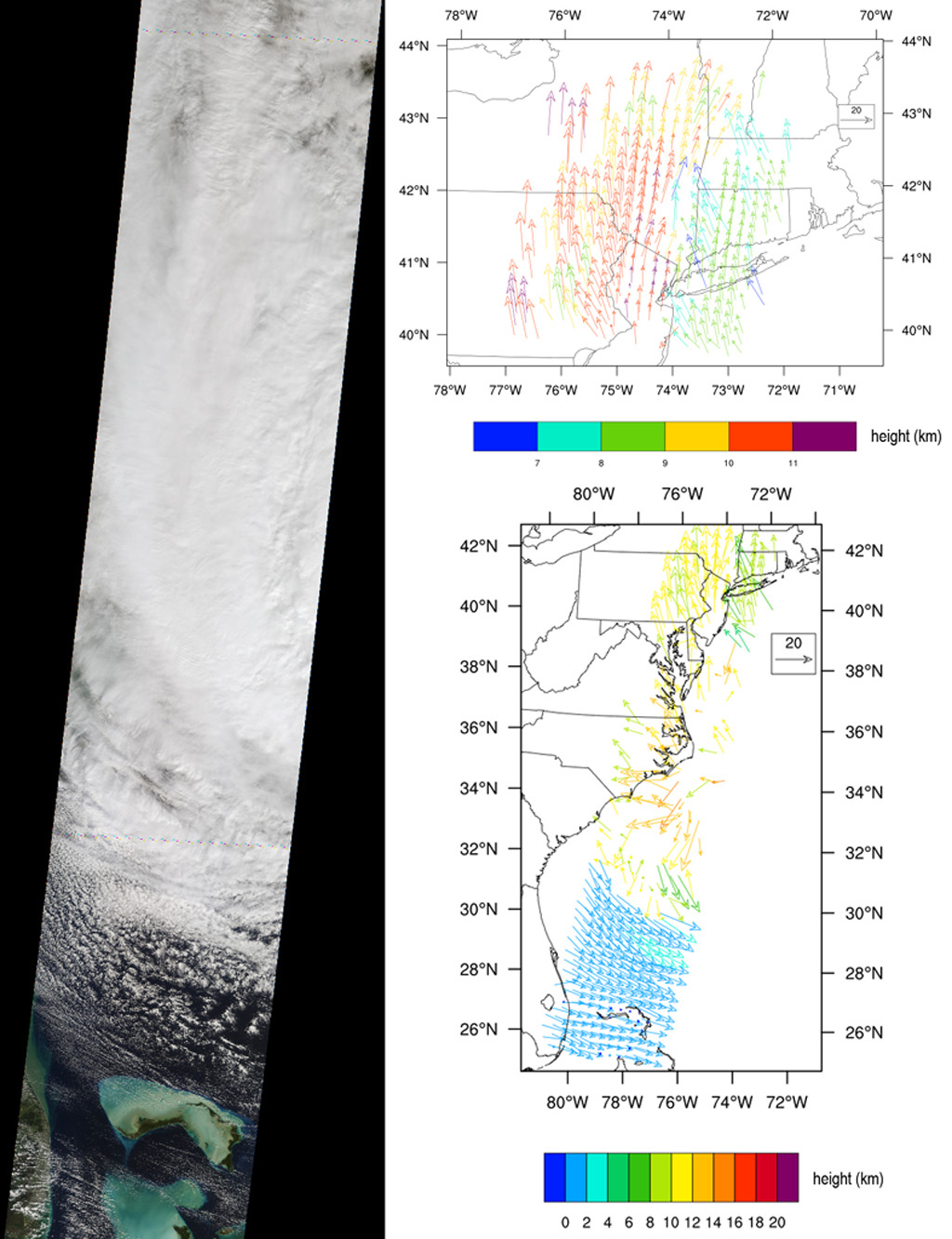 NASA's Terra spacecraft captured this imagery and data over Hurricane Sandy as the storm approached the U.S. east coast on Oct. 28, 2012. The image at left covers an area 250 miles (400 kilometers) wide and extends from Massachusetts to Florida.