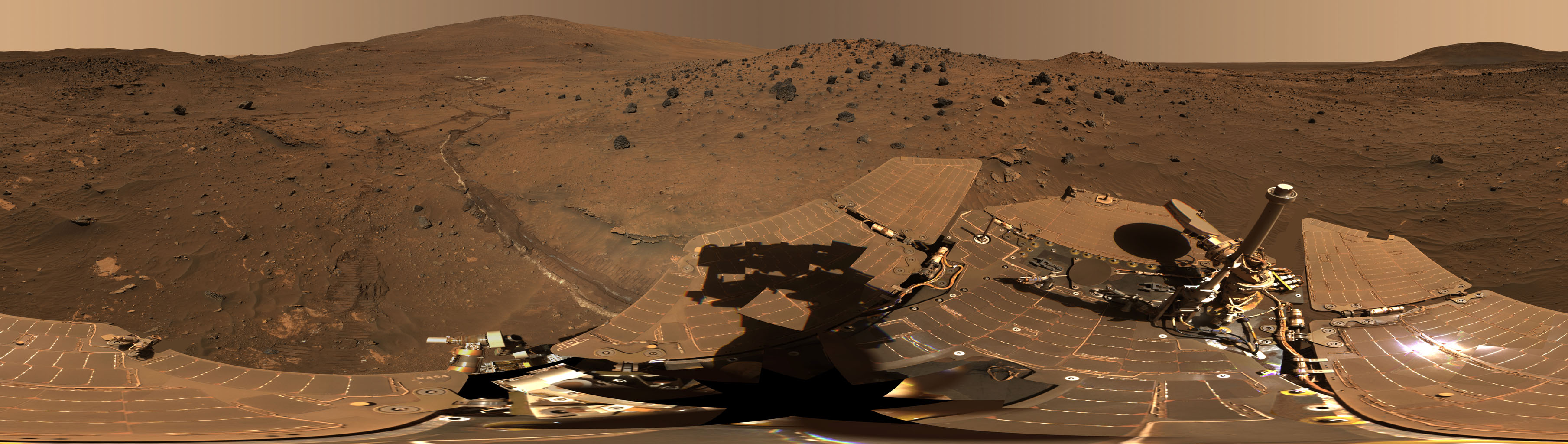 This 360-degree view, called the 'McMurdo' panorama, from NASA's Mars Exploration Rover Spirit, where the rover stayed on a small hill known as 'Low Ridge' from April through October 2006.
