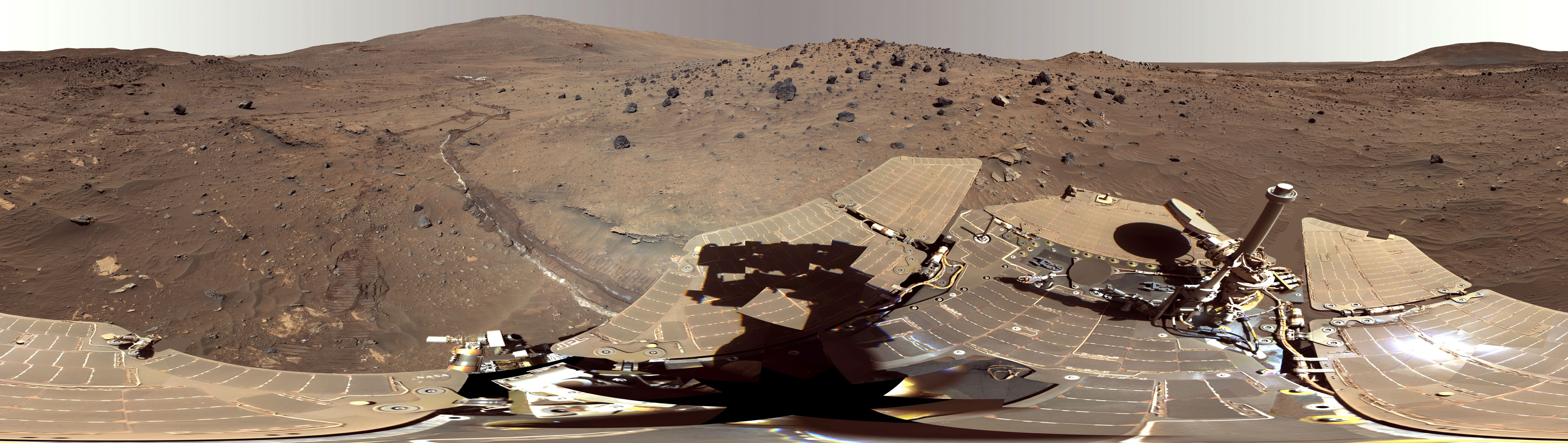 This false color view, called the 'McMurdo' panorama, from NASA's Mars Exploration Rover Spirit, where the rover stayed on a small hill known as 'Low Ridge' from April through October 2006.