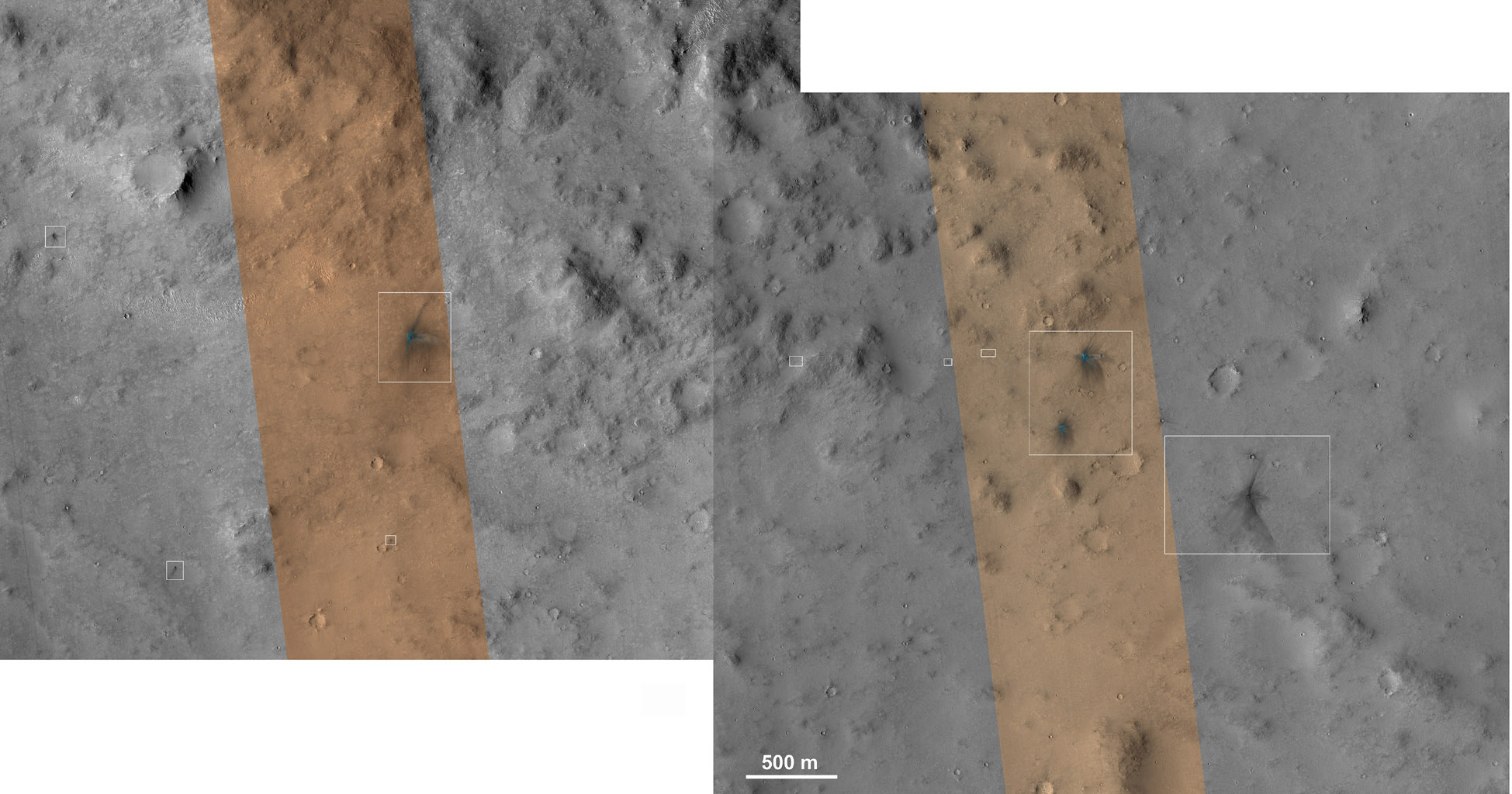 These images from the NASA Mars Reconnaissance Orbiter show several impact scars on Mars made by pieces of the NASA Mars Science Laboratory spacecraft that the spacecraft shed just before entering the Martian atmosphere.
