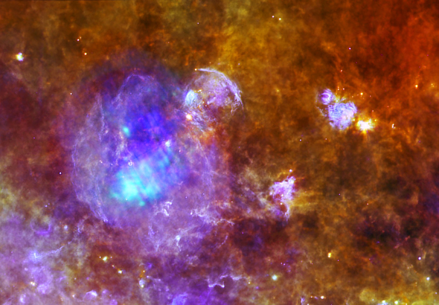 W44 is located around 10,000 light-years away, within a forest of dense star-forming clouds in the constellation of Aquila, the Eagle. This image combines data from ESA's Herschel and XXM-Newton space observatories.