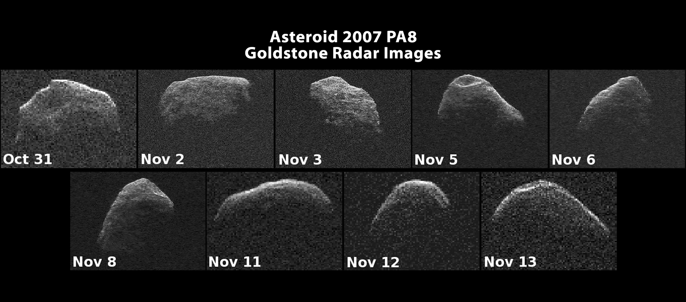 Images of asteroid 2007 PA8 have been generated with data collected by NASA's Goldstone Solar System Radar. The images of 2007 PA8 reveal possible craters, boulders, an irregular, asymmetric shape, and very slow rotation.