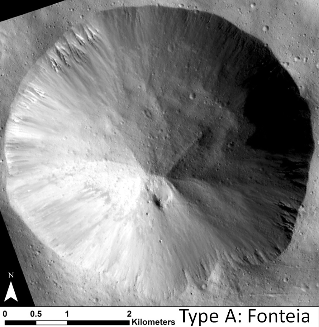 This image shows examples of straighter, shorter, wider gullies that scientists on NASA's Dawn mission have found on the giant asteroid Vesta. The crater shown here is called Fonteia.