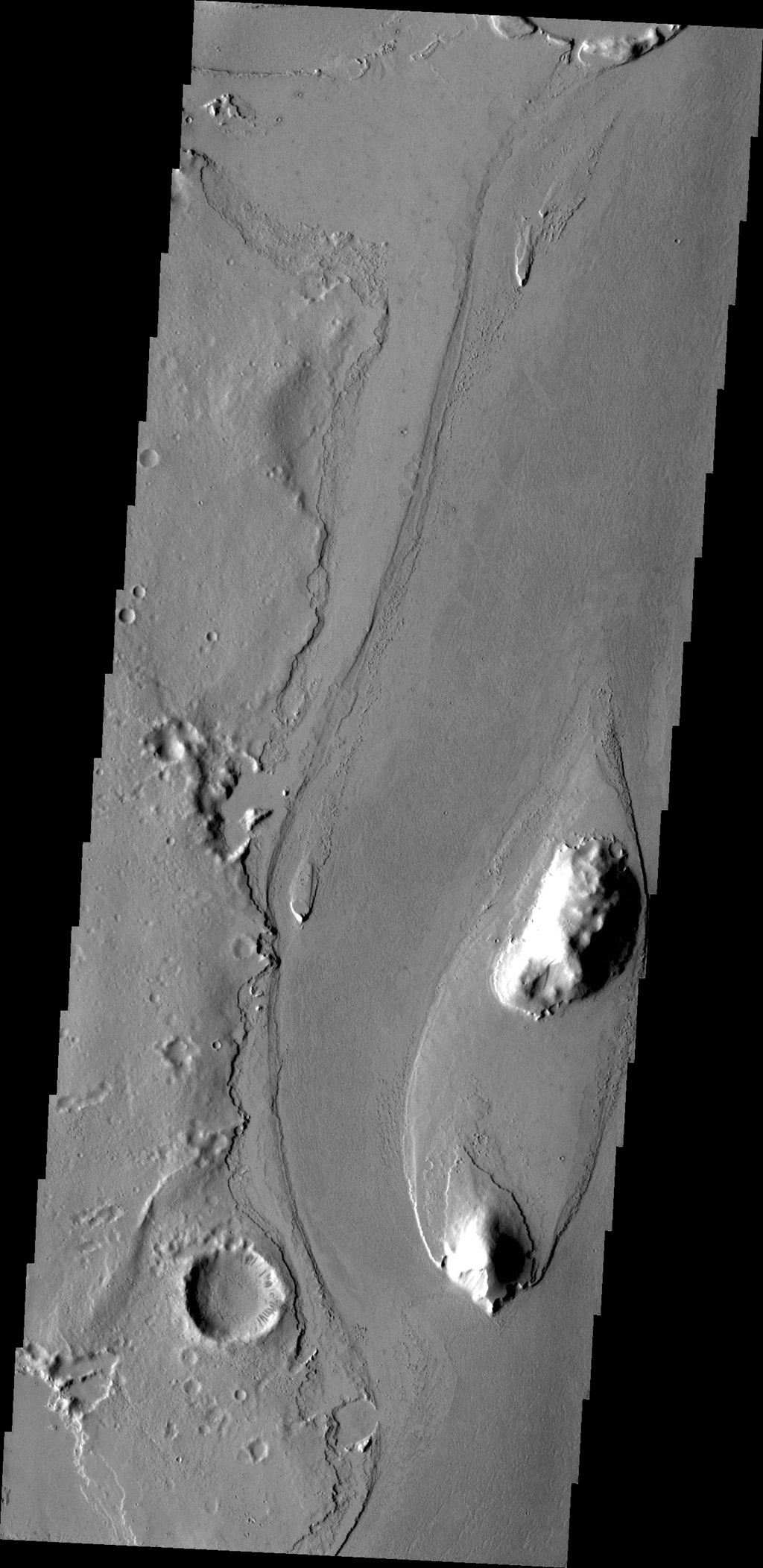 The streamlined island in this image captured by NASA's 2001 Mars Odyssey spacecraft is located in the channel of Marte Vallis.