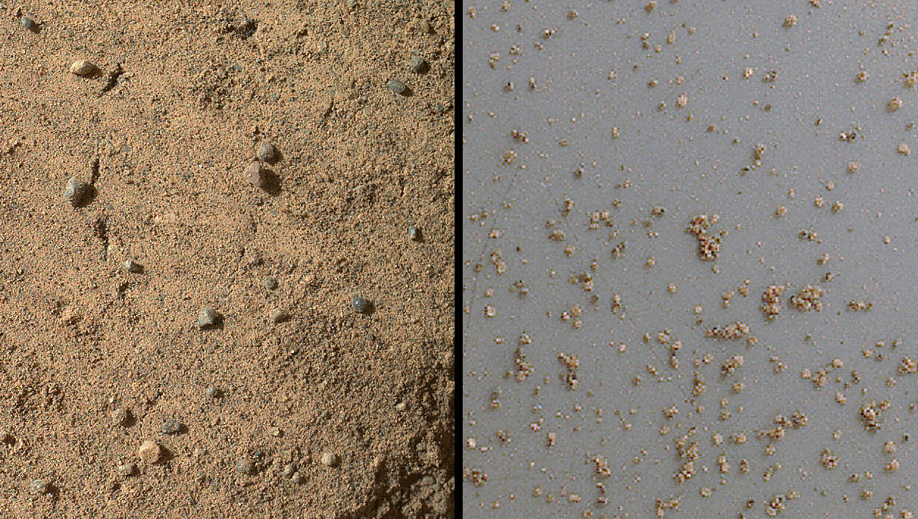NASA's Mars rover Curiosity acquired close-up views of sands in the 'Rocknest' wind drift to document the nature of the material that the rover scooped, sieved and delivered to the CheMin and SAM instruments in October and November 2012.