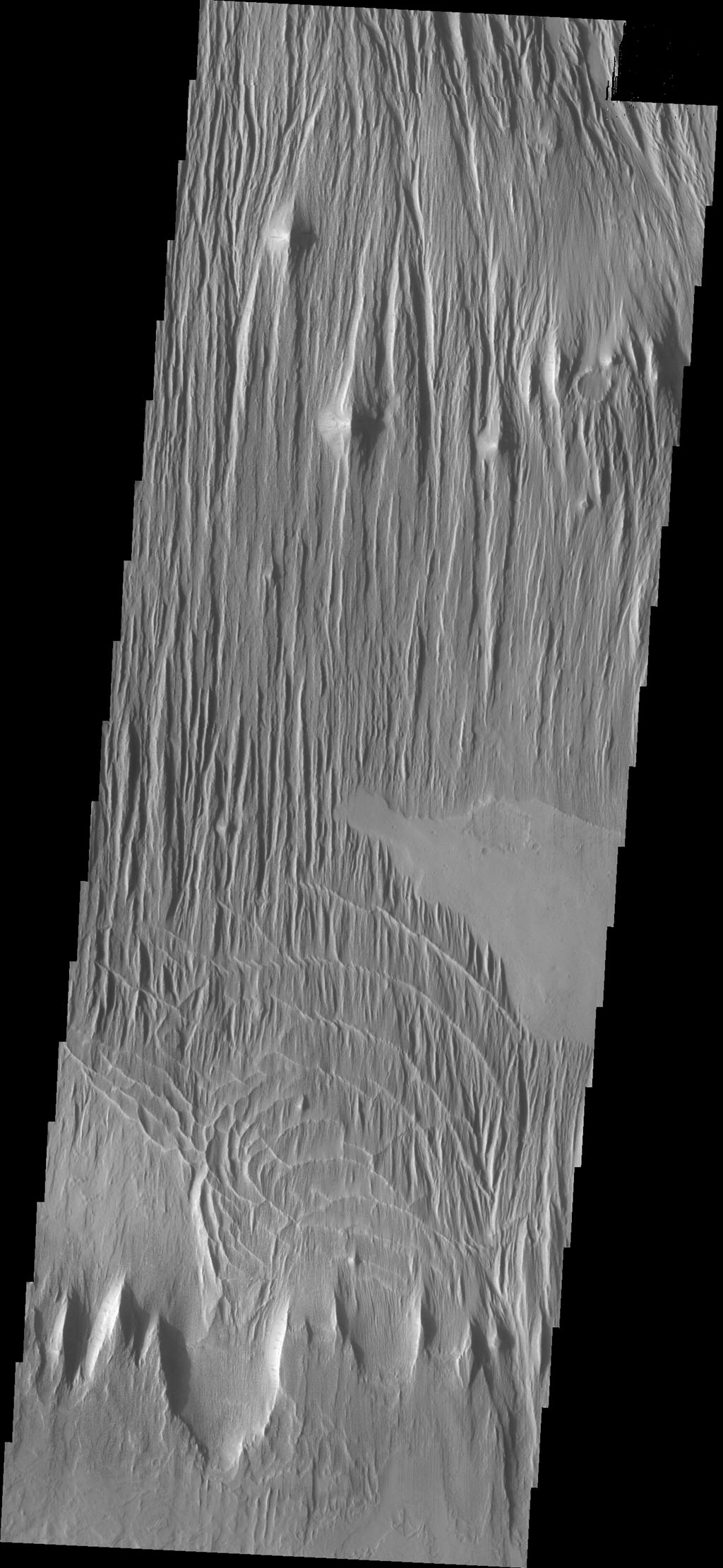 The surface in this image captured by NASA's 2001 Mars Odyssey spacecraft has been scoured by the wind, producing the linear ridges/valleys.