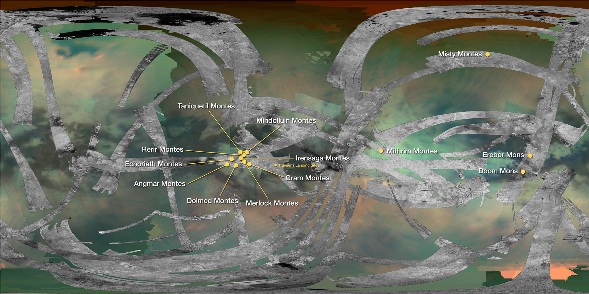 This map of Saturn's moon Titan identifies the locations of mountains named by the International Astronomical Union. By convention, mountains on Titan are named for mountains from Middle-earth, the fictional setting in fantasy novels by J.R.R. Tolkien.
