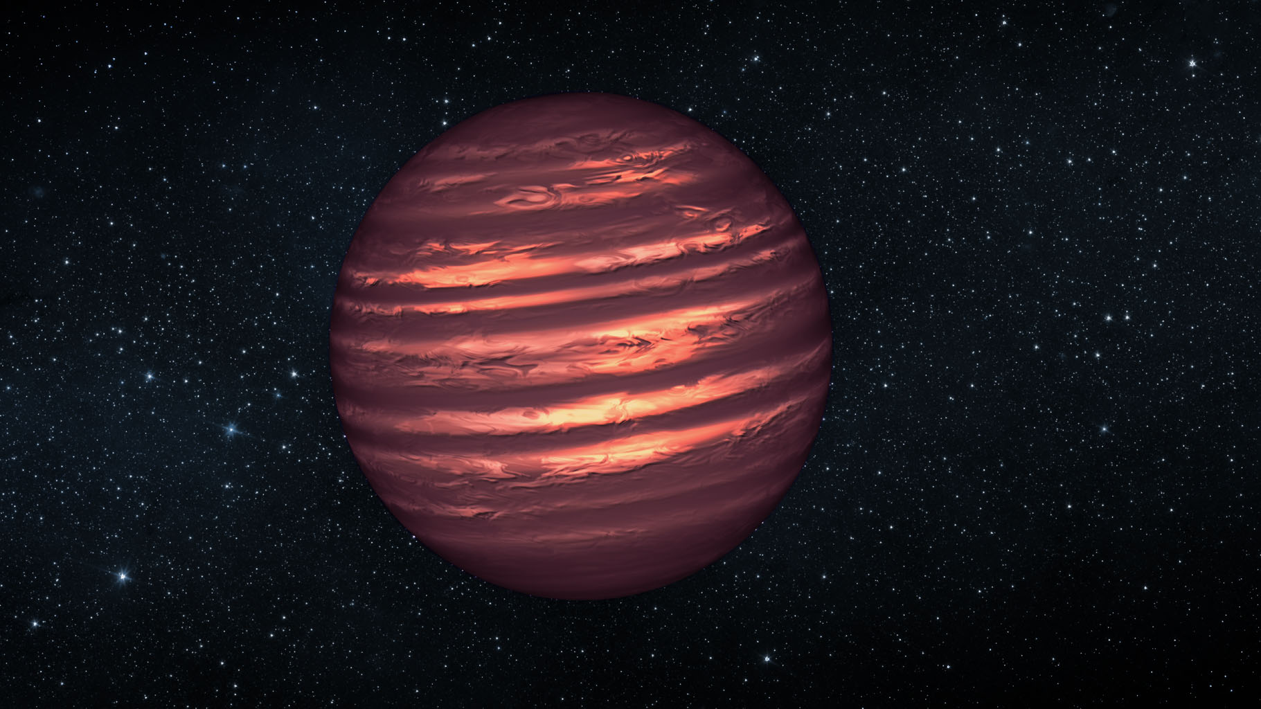 This artist's conception illustrates the brown dwarf named 2MASSJ22282889-431026. NASA's Hubble and Spitzer space telescopes observed the object to learn more about its turbulent atmosphere.