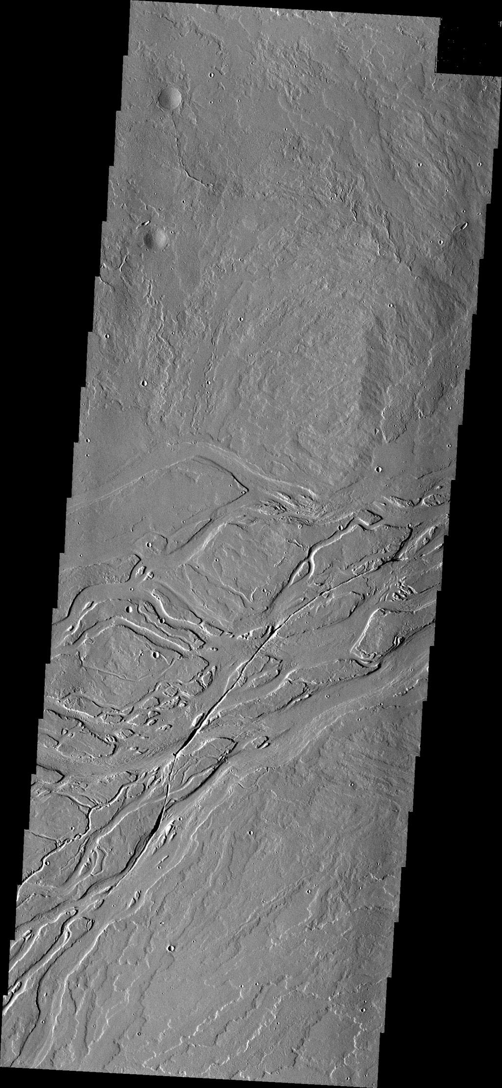 This image captured by NASA's 2001 Mars Odyssey spacecraft shows lava channels in the Tharsis plains on Mars.