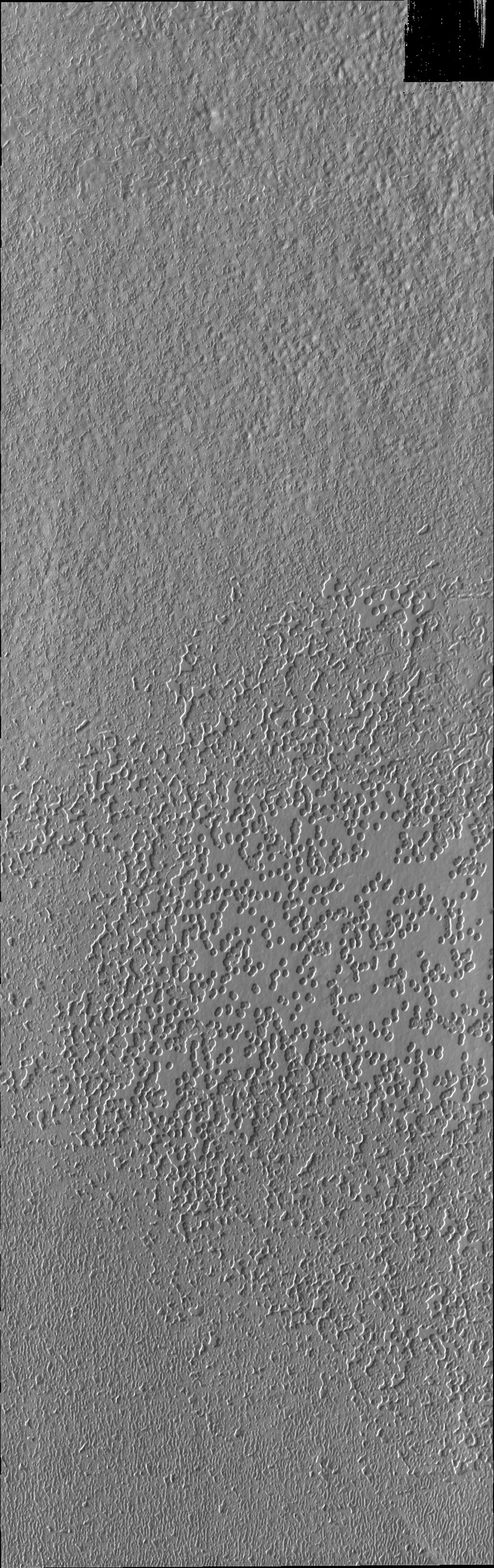One type of surface seen on Mars' south pole is this 'swiss-cheese' terrain of circular depressions as seen in this image from NASA's 2001 Mars Odyssey spacecraft.