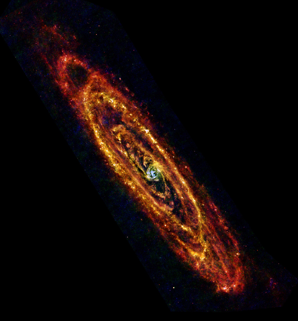 In this new view of the Andromeda, also known as M31, galaxy from the Herschel space observatory, cool lanes of forming stars are revealed in the finest detail yet.