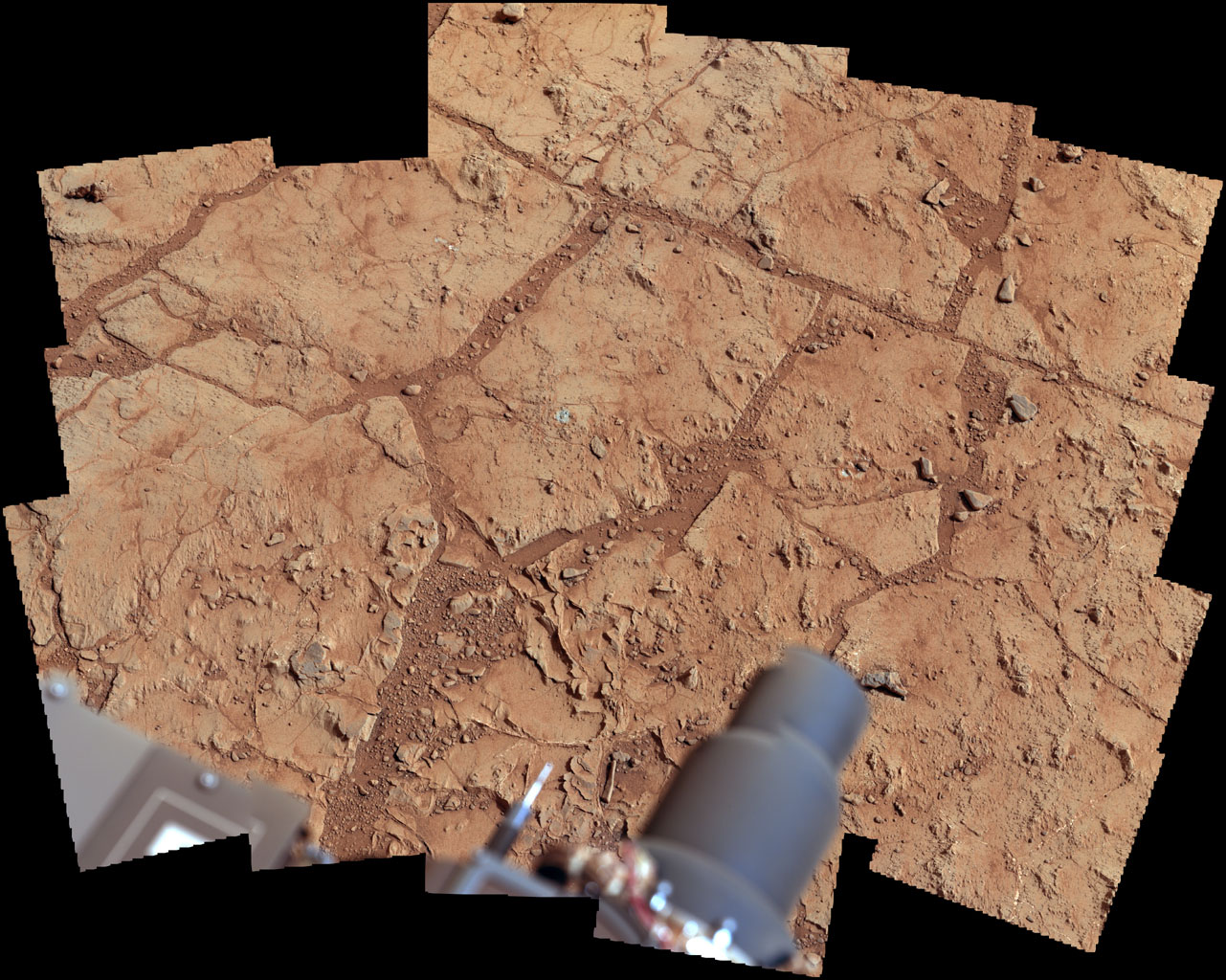NASA's Mars rover Curiosity used its Mast Camera (Mastcam) to take the images combined into this mosaic of the drill area, called 'John Klein,' where the rover ultimately performed its first sample drilling.