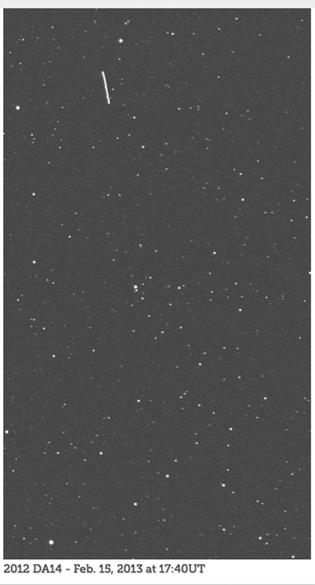 An animated set of images, from the telescope known as the iTelescope.net Siding Spring Observatory, shows asteroid 2012 DA14 as the streak moving from top to bottom in the field of view. The animation is available in the Planetary Photojournal.