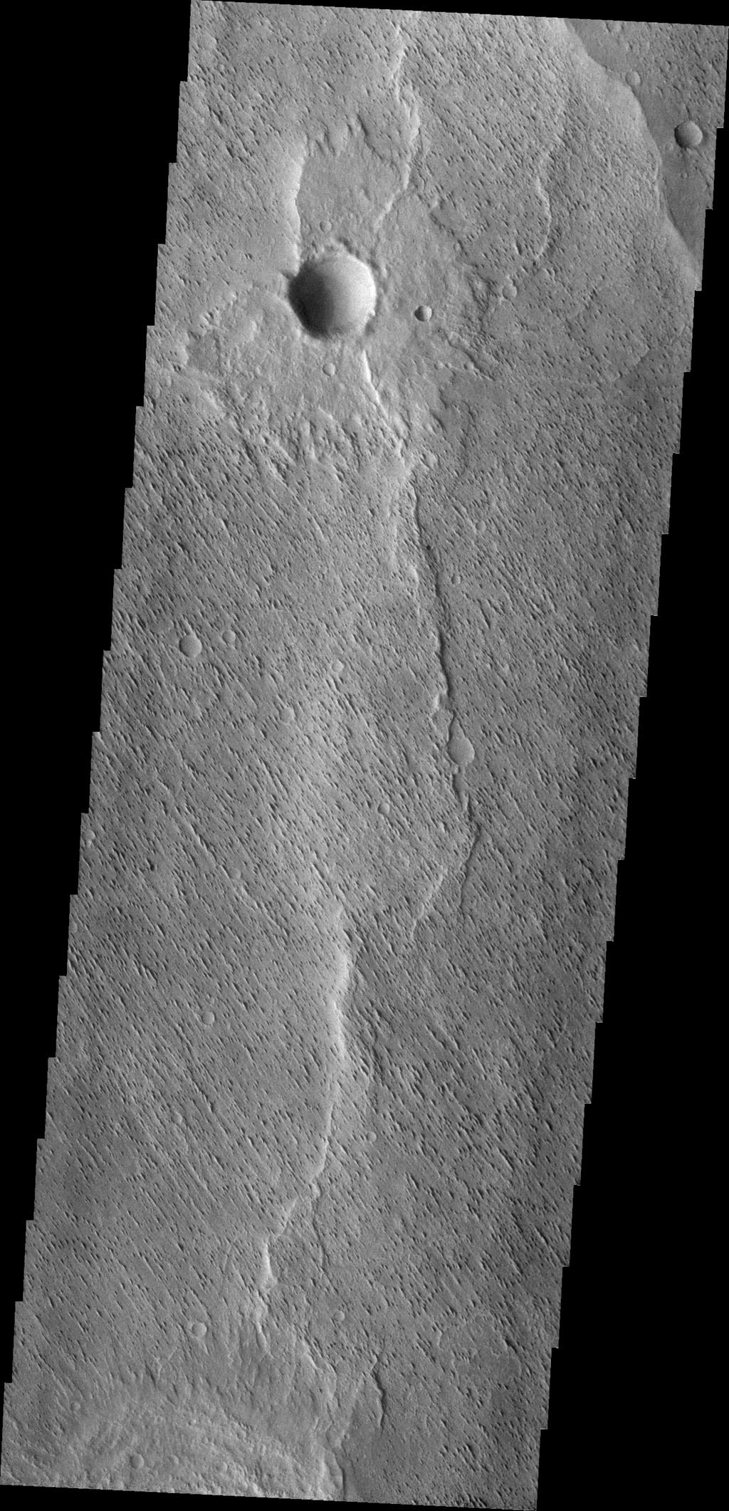 The small parallel ridges in this image captured by NASA's 2001 Mars Odyssey spacecraft were created by the erosive power of wind blown particles.