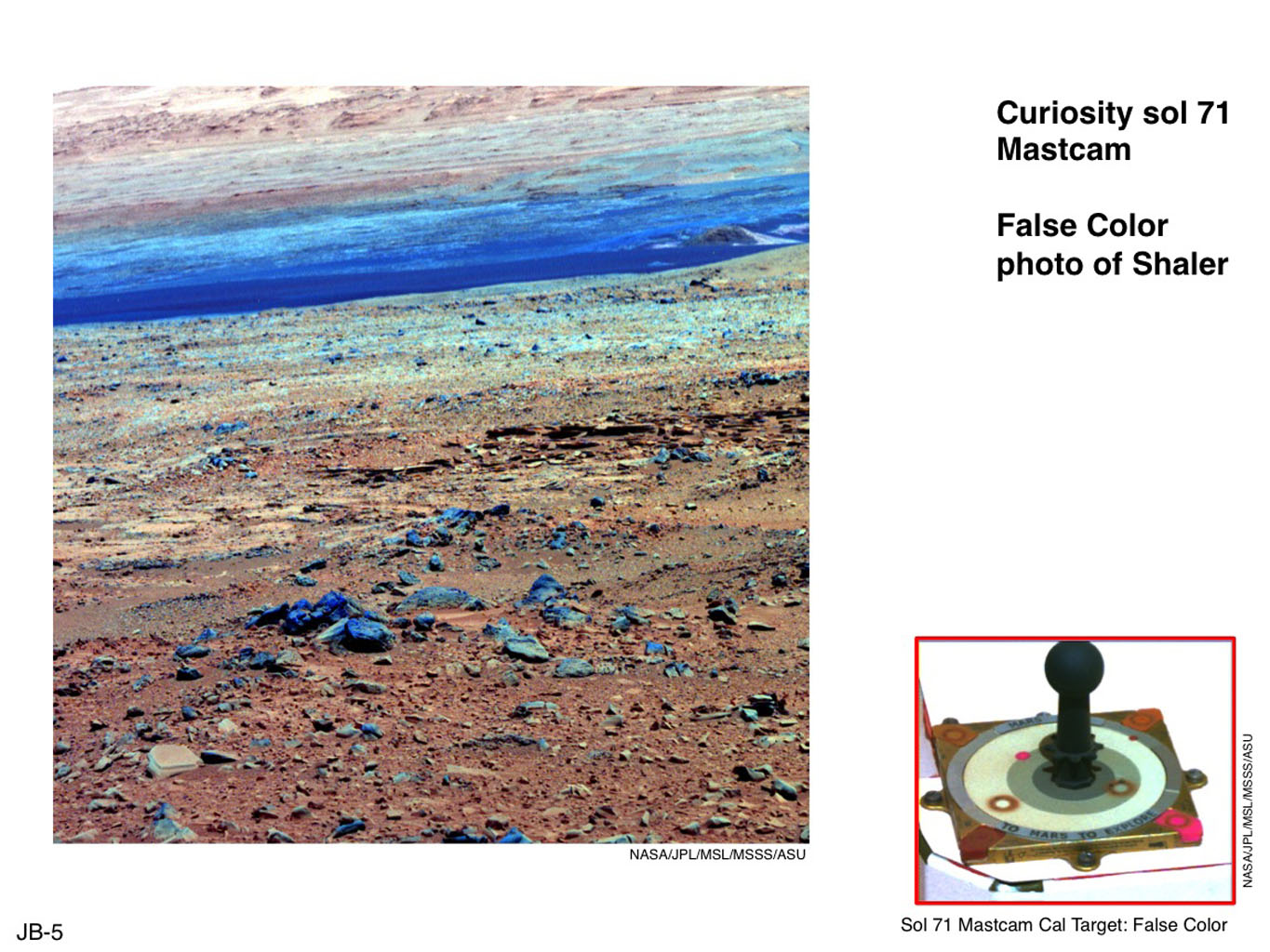 This image of terrain inside Mars' Gale Crater and the calibration target for Mastcam on NASA's Mars rover Curiosity illustrate how false color can be used to make differences more evident in the materials in the scene.