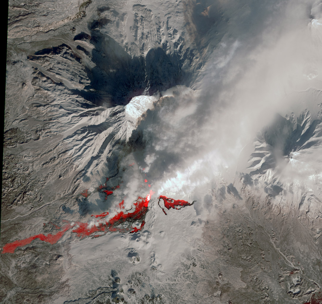 NASA's Terra spacecraft reveals the still-active lava flows in the snowy winter landscape of Plosky Tolbachik volcano, which erupted for the first time in 35 years on Nov. 27, 2012, in Russia's far eastern Kamchatka Peninsula.